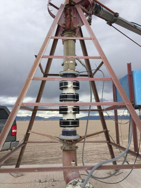 GMX Model 8000s on pivot irrigation systems on potato farms in Colorado. Farmers use less water, there is decreased mineral buildup on the pipes, and crop yield is significantly increased.